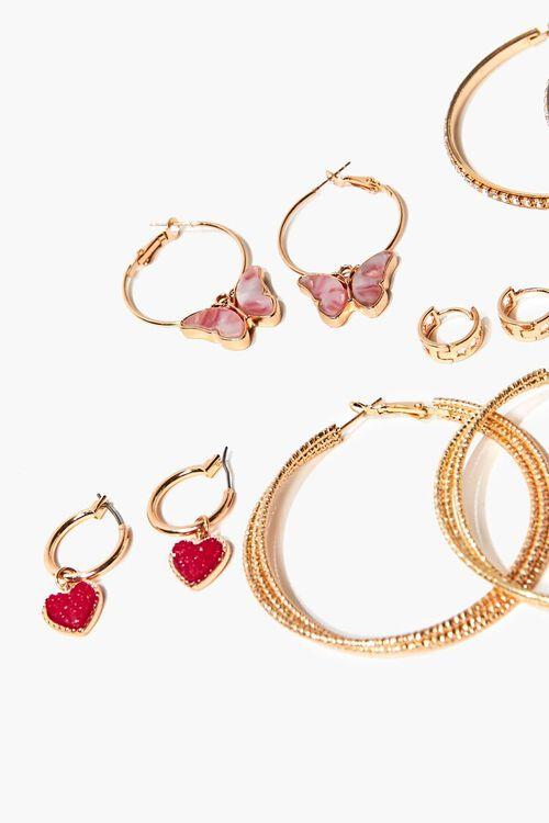 GOLD/MULTI Butterfly & Heart Charm Hoop Earring Set, image 2