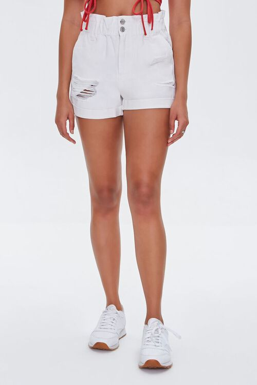 Distressed Denim Paperbag Shorts, image 2
