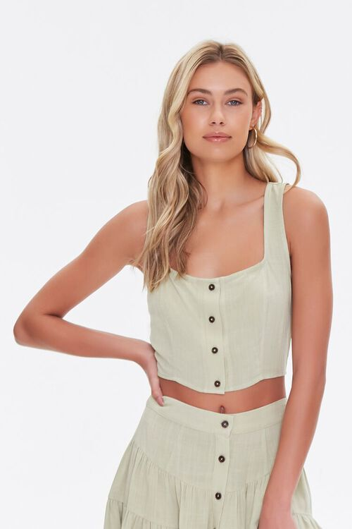 Cropped Button-Front Tank Top, image 1