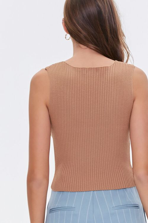 BROWN Ribbed Sweater-Knit Tank Top, image 3