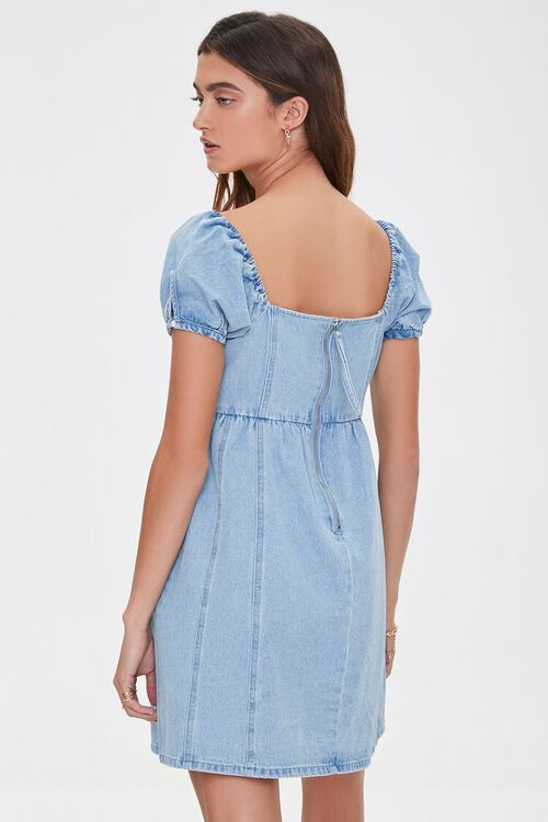 Denim Puff-Sleeve Dress, image 3