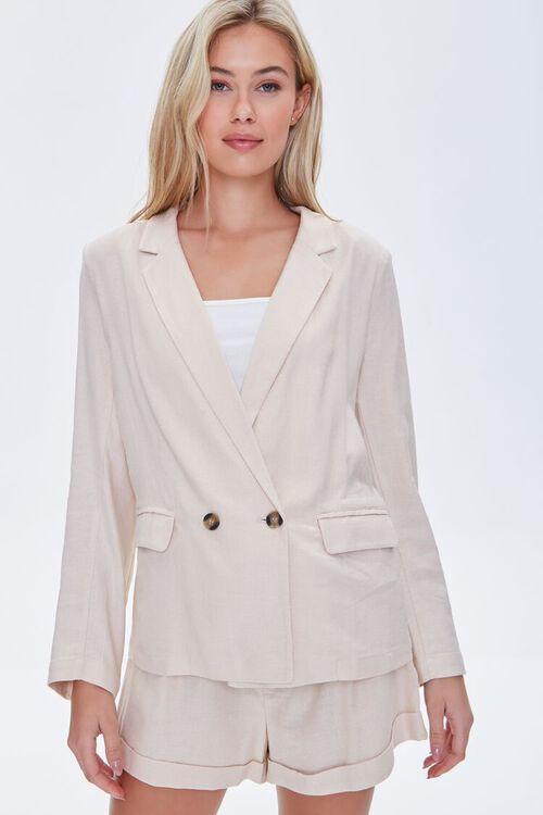 BEIGE Double-Breasted Linen Blazer, image 2