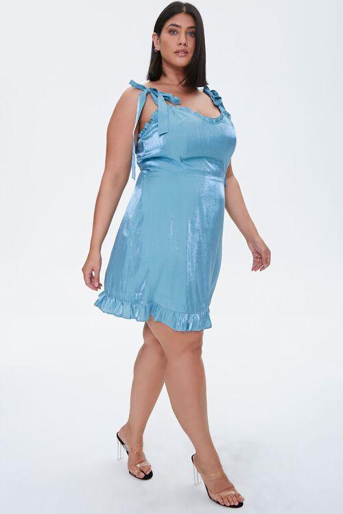 Plus Size Sheeny Self-Tie Mini Dress, image 1