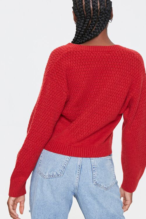 Textured Knit Cardigan Sweater, image 3
