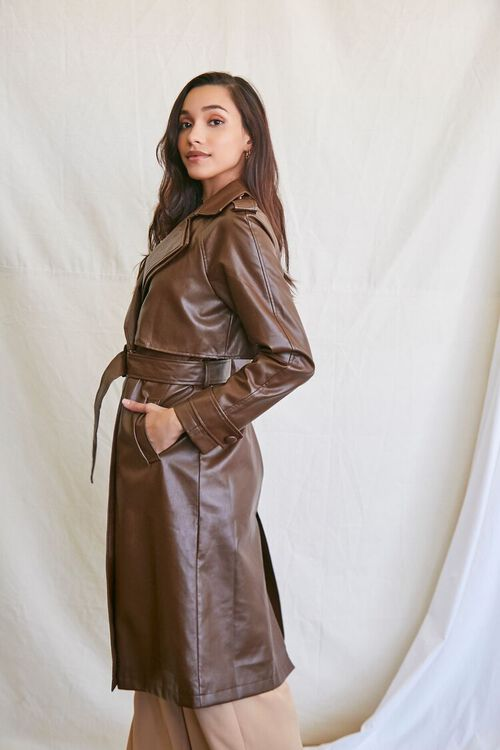 BROWN Faux Leather Trench Coat, image 2