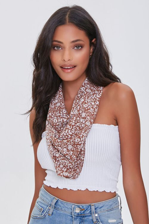 Floral Print Square Scarf, image 5