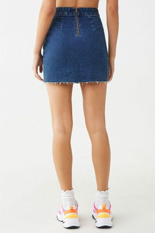 DARK DENIM Frayed Denim Mini Skirt, image 4