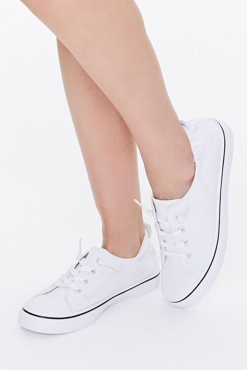 WHITE Canvas Low-Top Sneakers, image 1