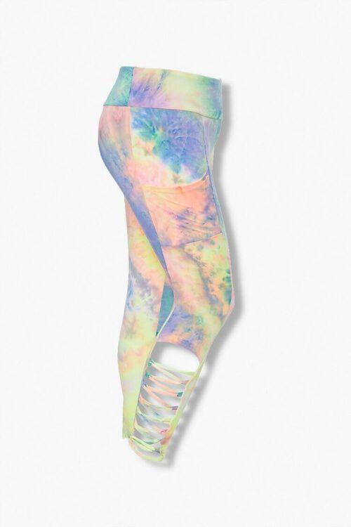 PINK/MULTI Plus Size Tie-Dye Caged Leggings, image 1