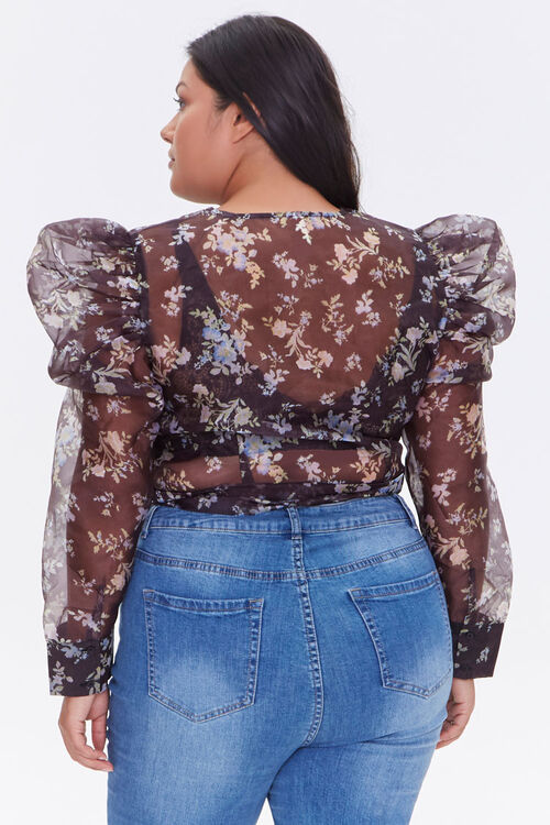 Plus Size Sheer Floral Print Top, image 3