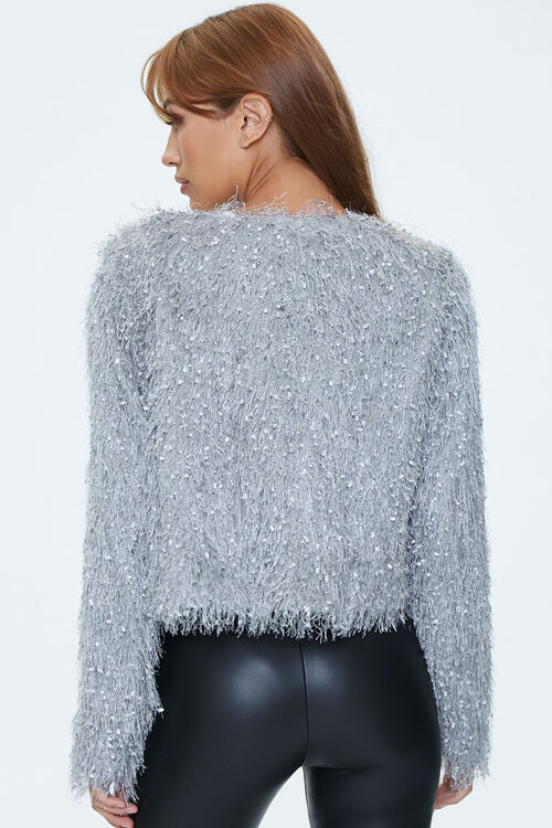 Shaggy Knit Open-Front Jacket, image 3