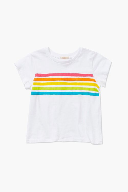 Girls Rainbow Striped-Trim Tee (Kids), image 1
