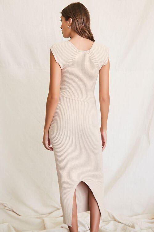 BEIGE Sweater-Knit Ribbed Midi Dress, image 3