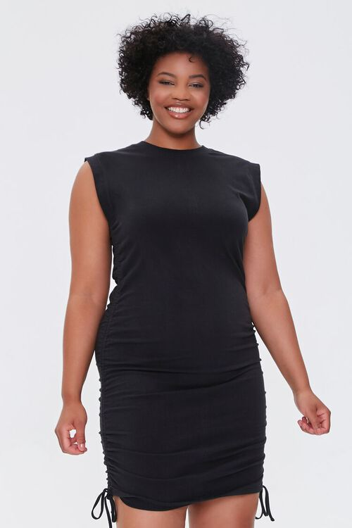 Plus Size Ruched Drawstring Mini Dress, image 1