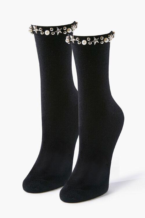 Faux Pearl Embellished Crew Socks, image 1