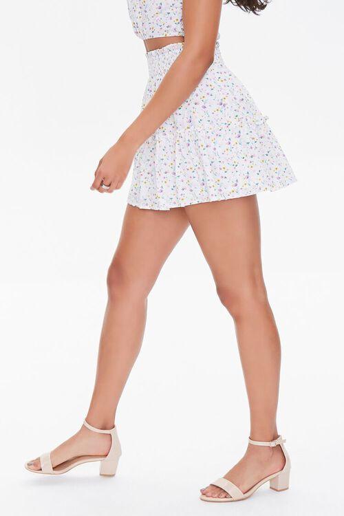 WHITE/MULTI Floral Print Mini Skirt, image 3