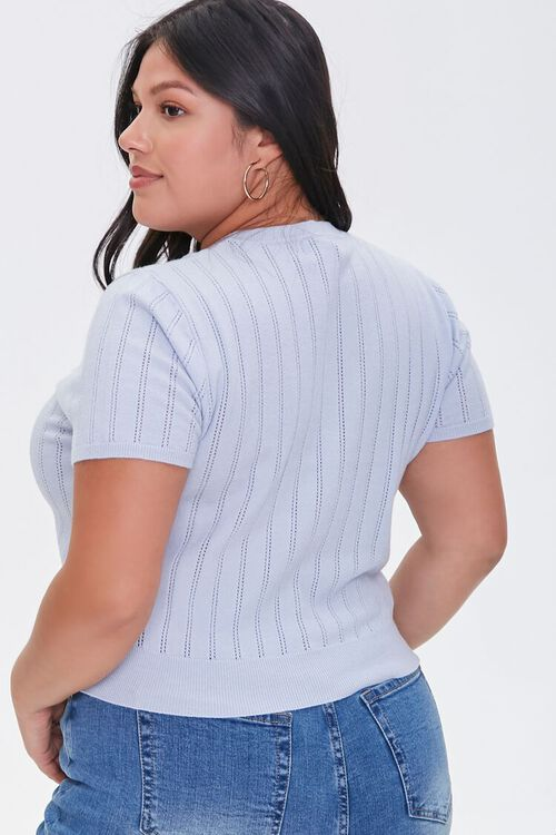 Plus Size Pointelle Sweater-Knit Tee, image 3
