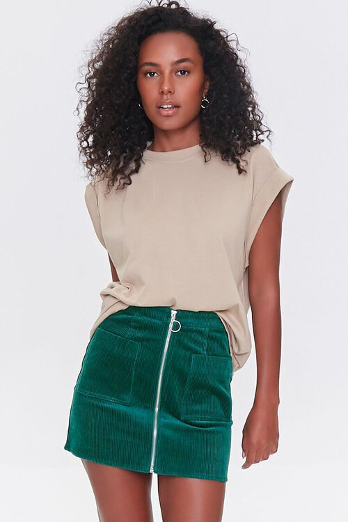 HUNTER GREEN Corduroy Zip-Front Mini Skirt, image 1