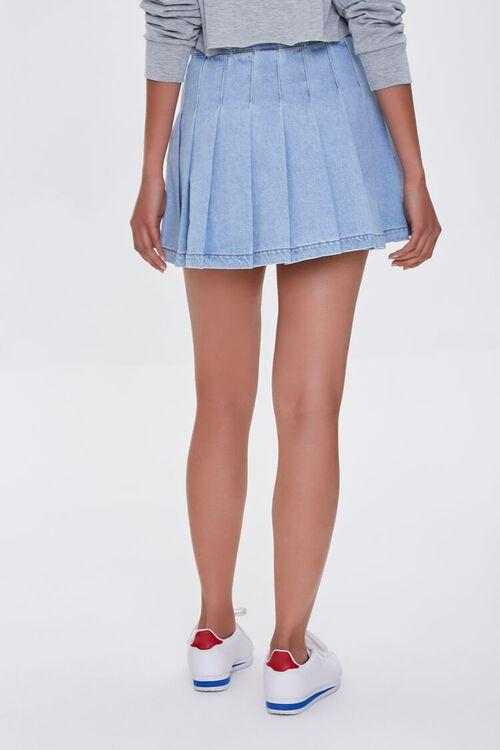 LIGHT DENIM Denim Knife Pleat Mini Skirt, image 4