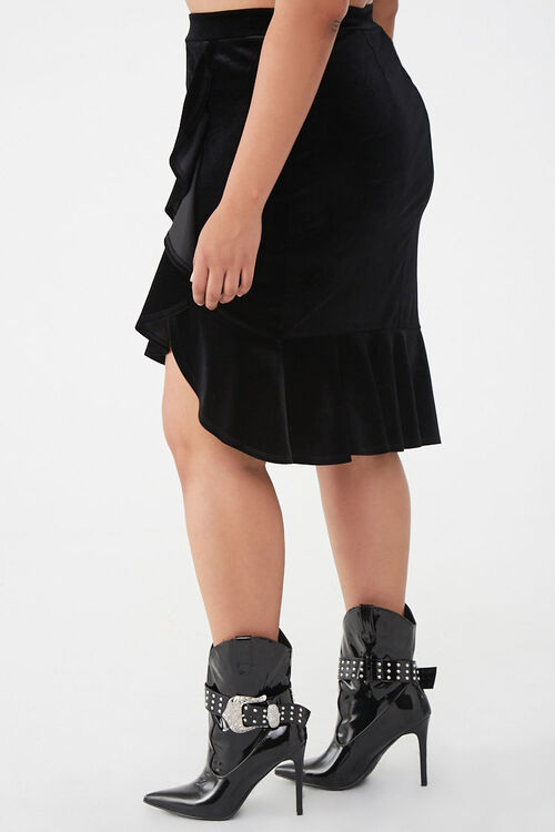 Plus Size Velvet High-Low Skirt, image 2