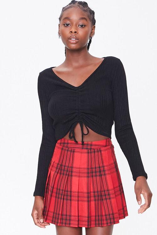 Pleated Plaid Mini Skirt, image 1