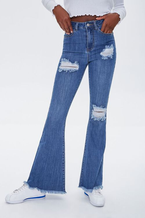 Frayed Distressed Flare Jeans, image 2