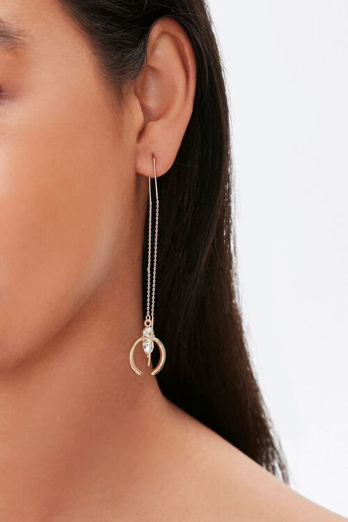 GOLD Faux Gem Drop Threader Earrings, image 1