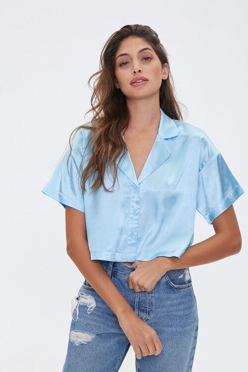 Cropped Satin Shirt, image 1