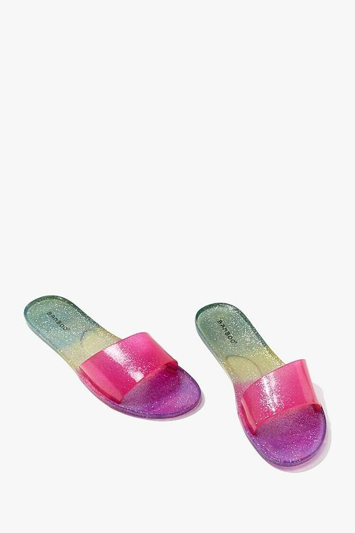 PINK/MULTI Glitter Gradient Jelly Slides, image 3