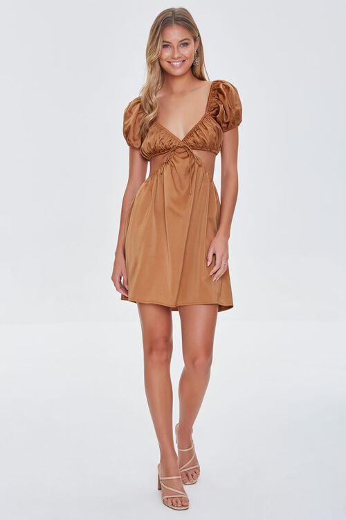 CHESTNUT Satin Puff Sleeve Mini Dress, image 4