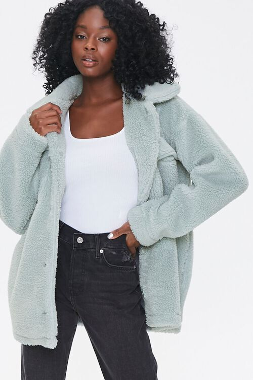 Faux Shearling Button-Front Jacket, image 1