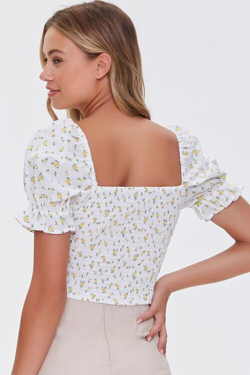 Floral Print Puff-Sleeve Top, image 3