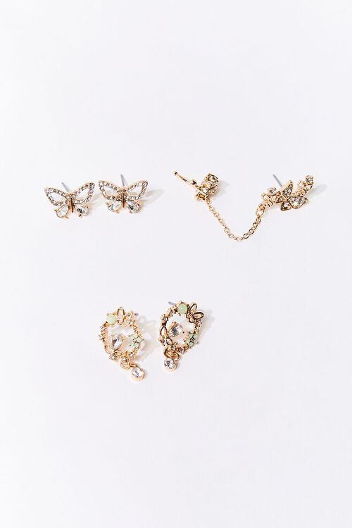 Floral Butterfly Stud Earring Set, image 1