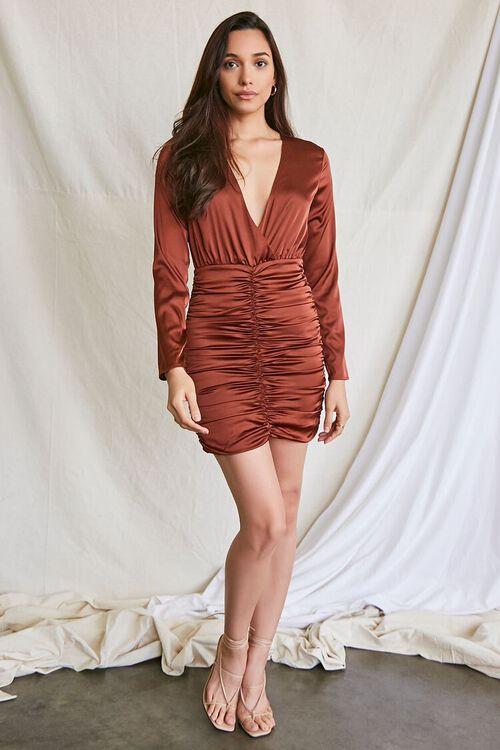 DARK BROWN Satin Ruched Mini Dress, image 4
