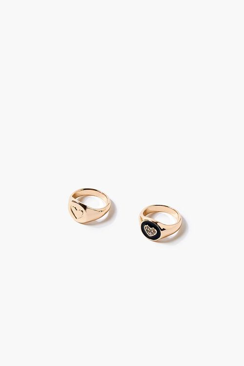 GOLD Heart Charm Ring Set, image 2