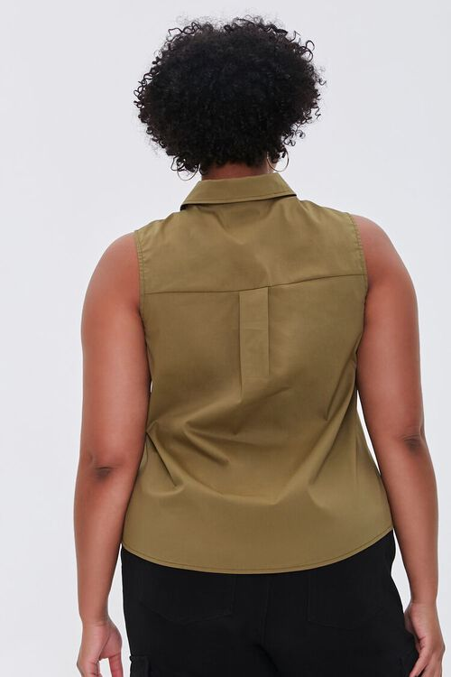 Plus Size Poplin Sleeveless Shirt, image 3