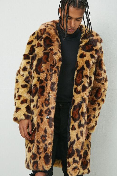 Leopard Print Faux Fur Coat, image 1