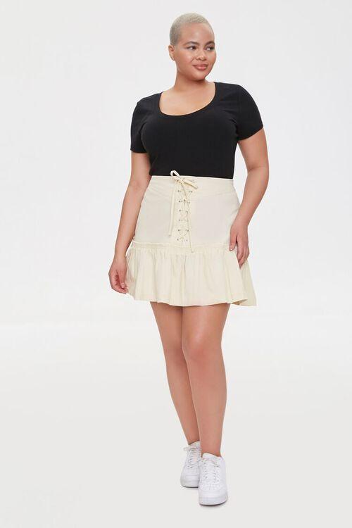 Plus Size Lace-Up Mini Skirt, image 5