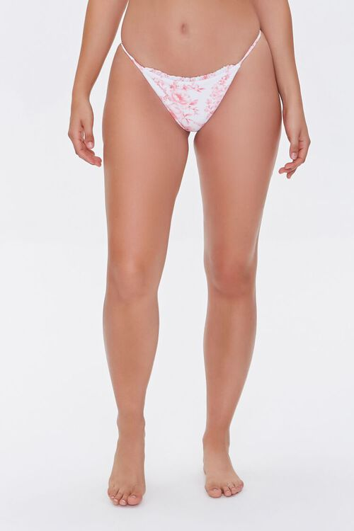 Floral Print String Bikini Bottoms, image 3