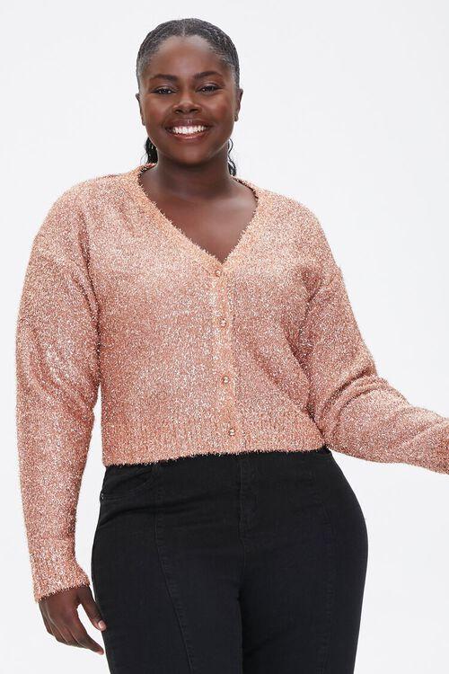 Plus Size Metallic Cardigan Sweater, image 1