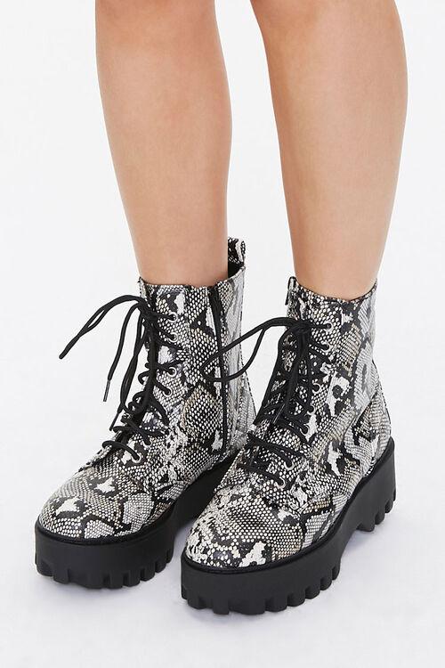 Faux Snakeskin Platform Boots, image 1