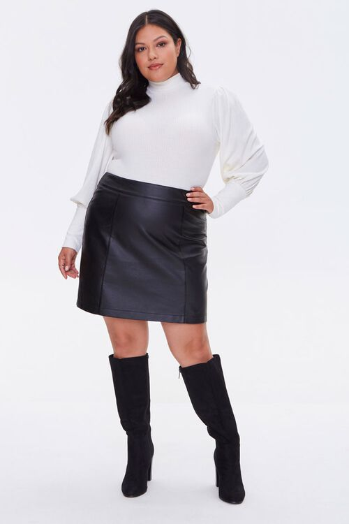 Plus Size Faux Leather Mini Skirt, image 5