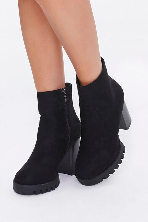 Velvet Block Heel Booties, image 1