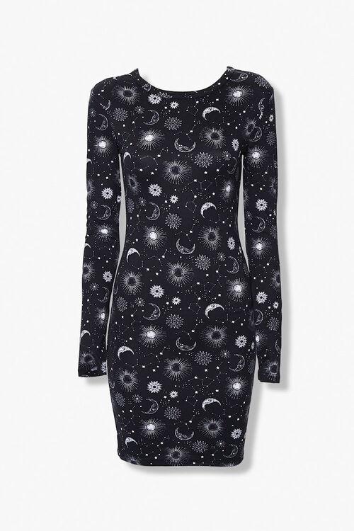 BLACK/WHITE Celestial Print Bodycon Dress, image 1
