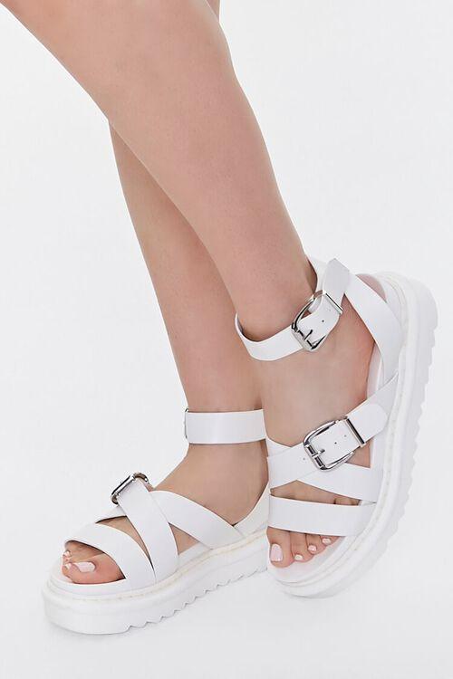 Faux Leather Dual-Buckle Flatform Sandals, image 1