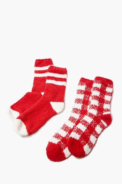Fuzzy Knit Crew Socks Set, image 2