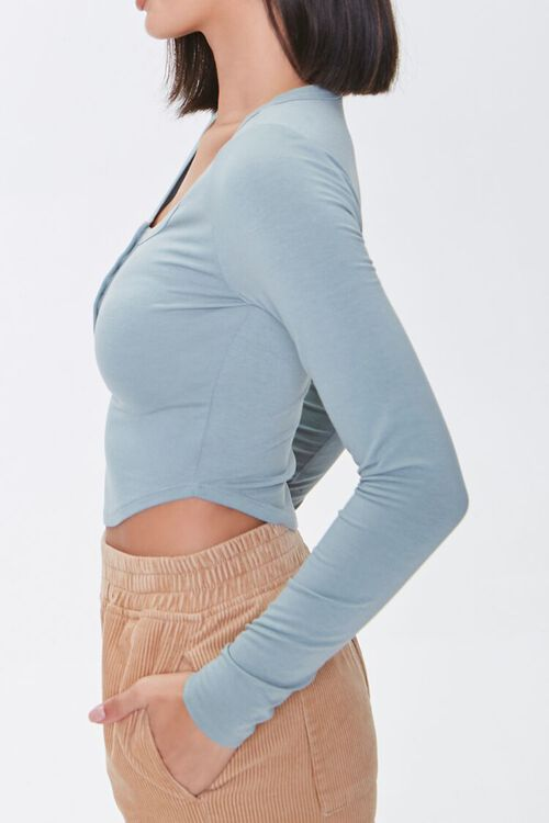 PISTACHIO Cropped Henley Top, image 2