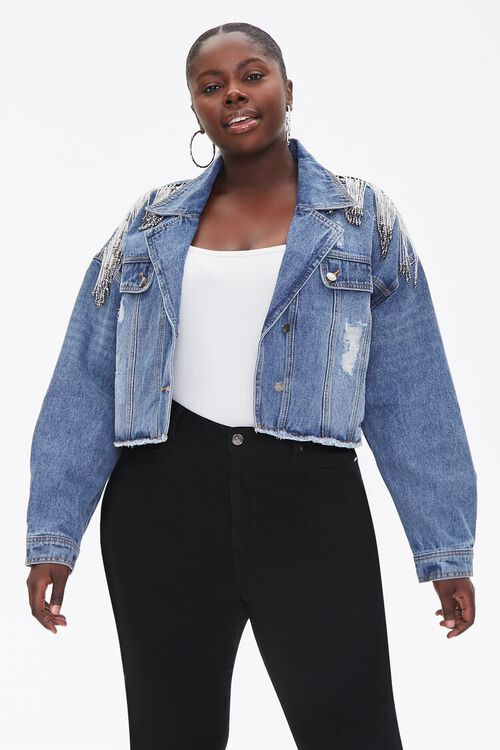 Plus Size Cropped Fringe Denim Jacket, image 4