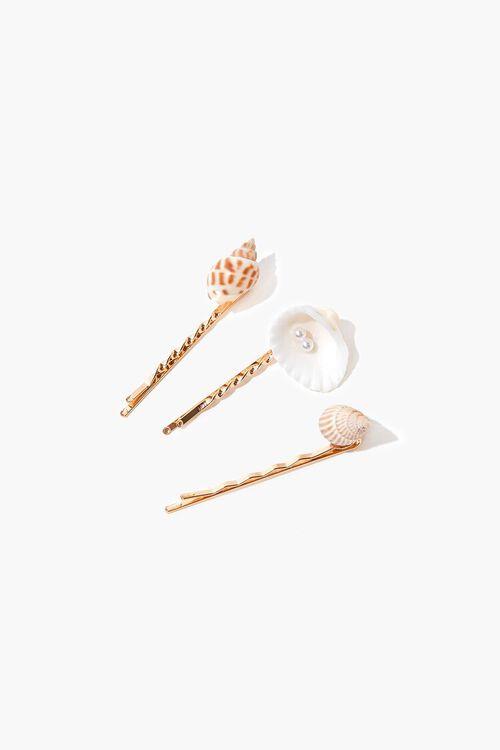 GOLD Seashell Charm Bobby Pin Set, image 1