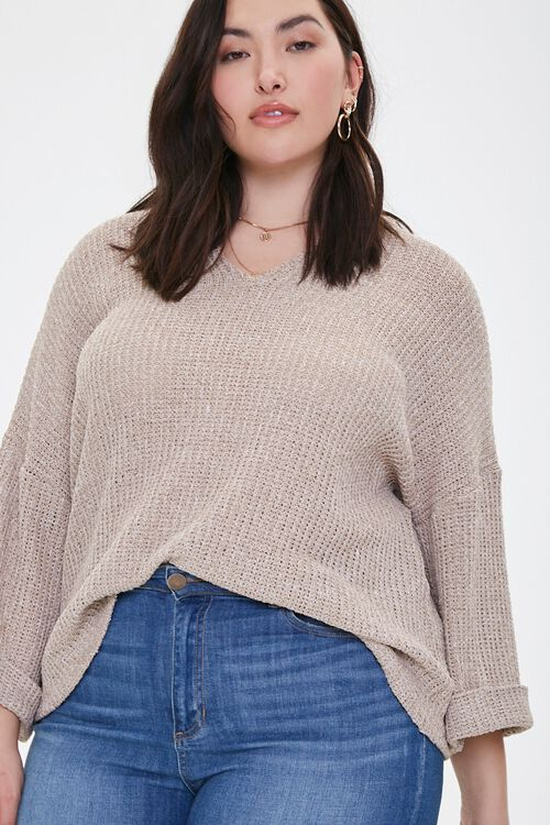 Plus Size Ribbed Marled Knit Top, image 1